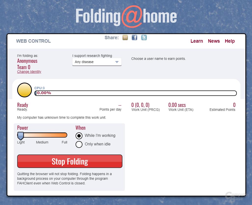 Folding@home – Oberfläche