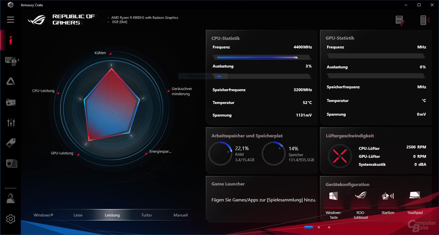 Armoury Crate zeigt AMD Ryzen 9 4900HS