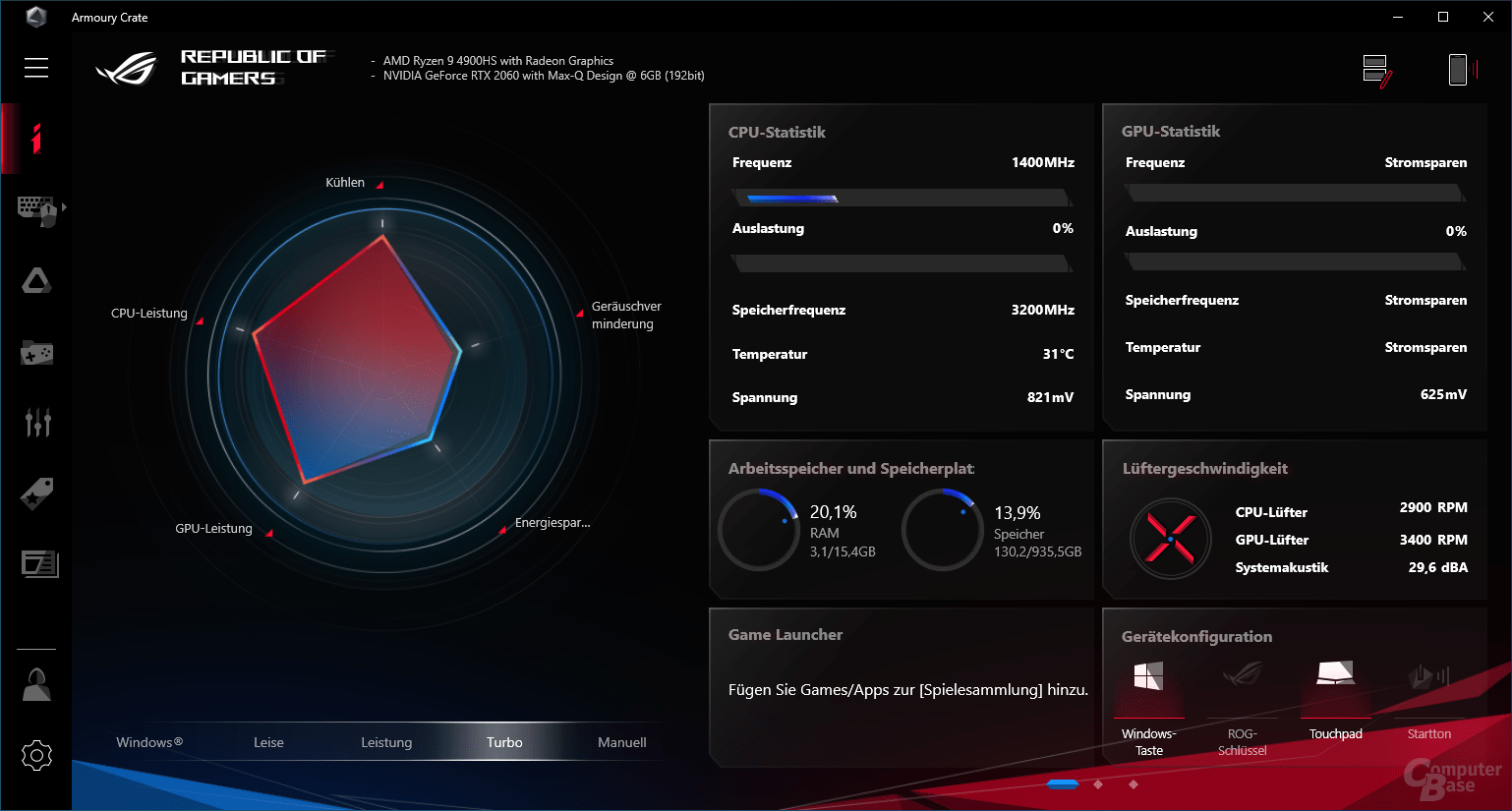 Armoury Crate zeigt AMD Ryzen 9 4900HS und Nvidia GeForce RTX 2060 Max-Q