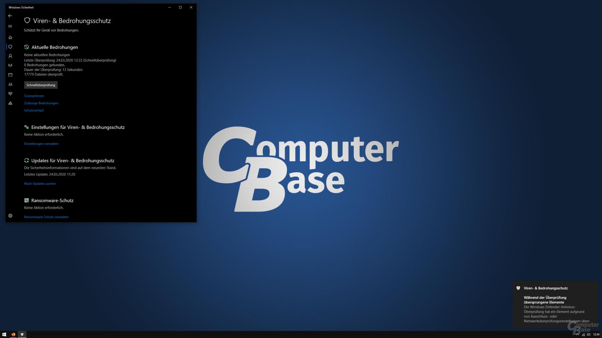 Der Windows Defender überspringt unbekannte Dateien beim Schnelltest