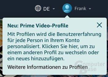 Erste Hinweise auf Profile auf der Prime-Video-Homepage