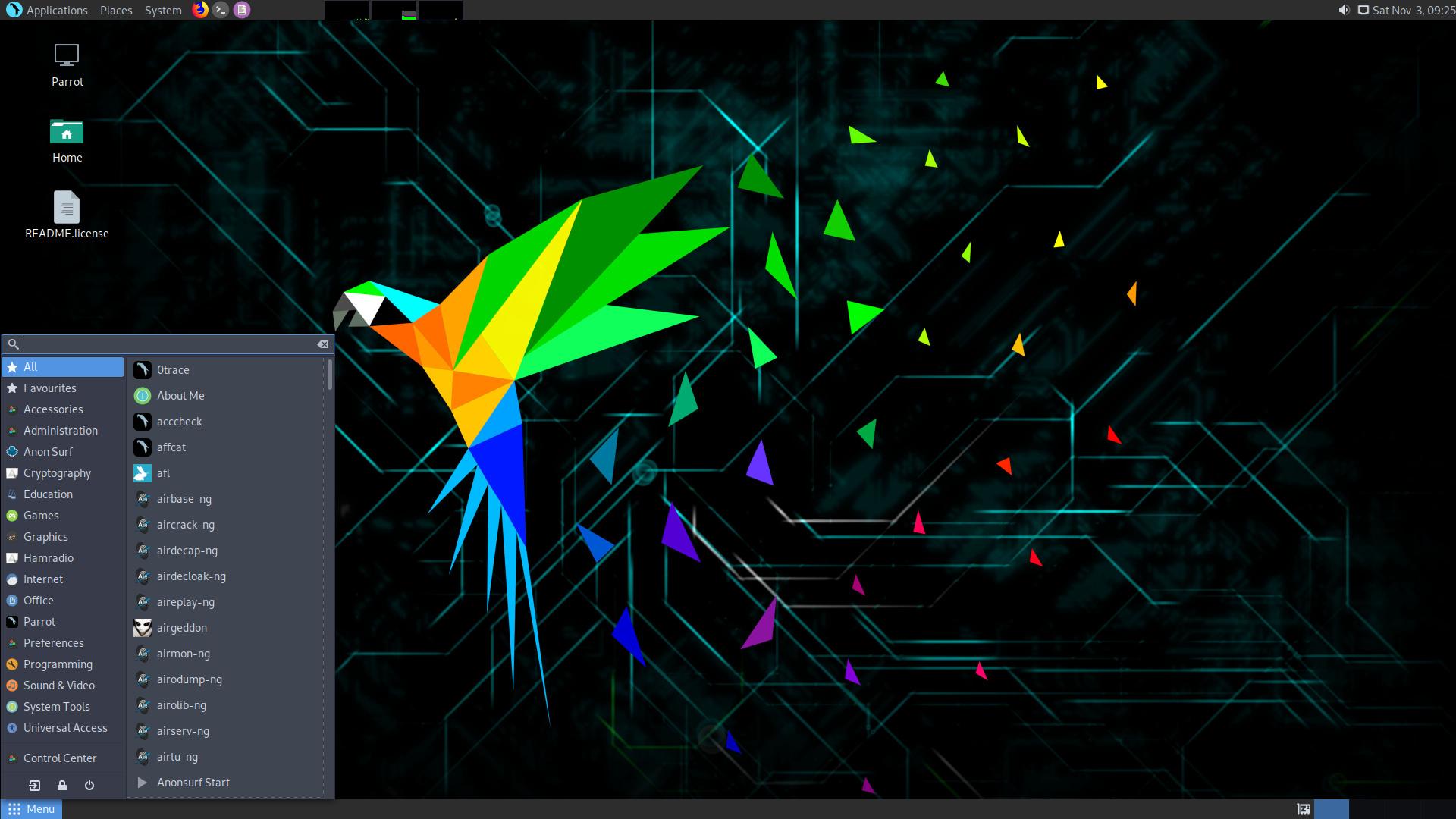 Parrot Linux 4.8 mit dem MATE Desktop Environment 1.24