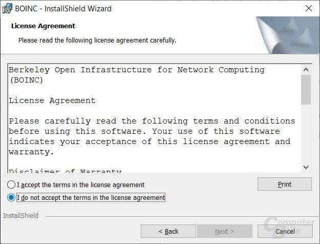 BOINC-Einrichtung für Rosetta@home