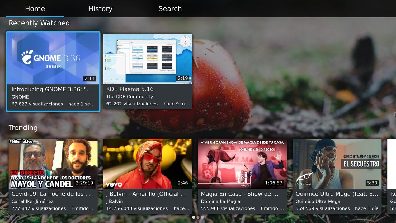YouTube auf KDE Plasma Bigscreen