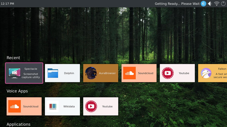 Das Hauptmenü von KDE Plasma Bigscreen
