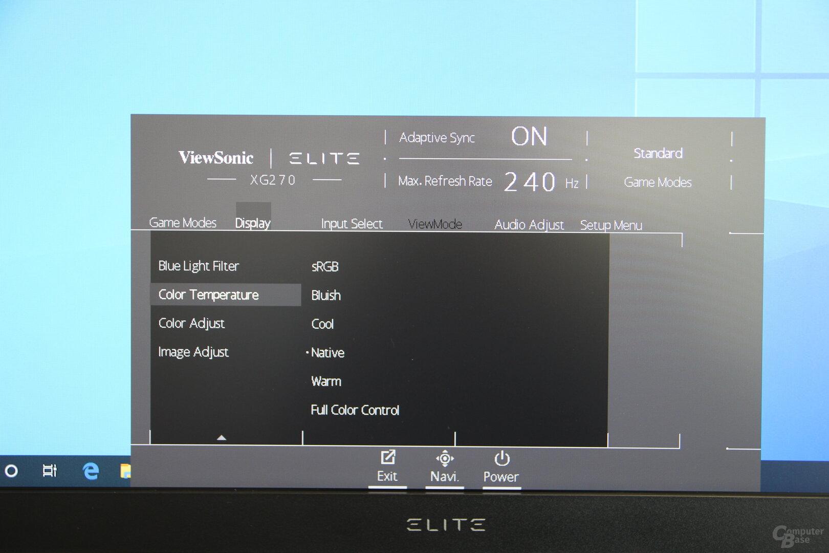OSD des ViewSonic XG270
