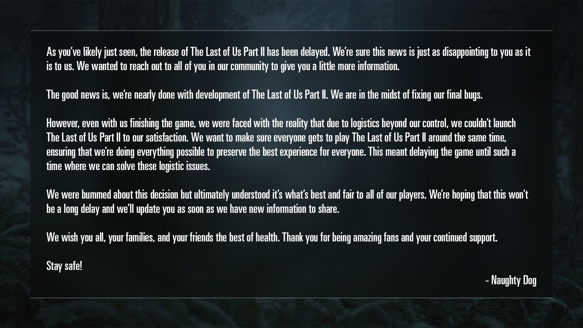 Naughty Dog bestätigt die Verschiebung von The Last of Us Part 2
