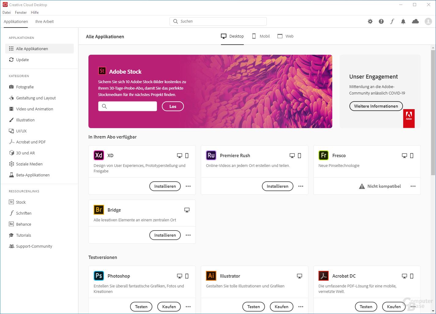 Adobe Creative Cloud – Oberfläche