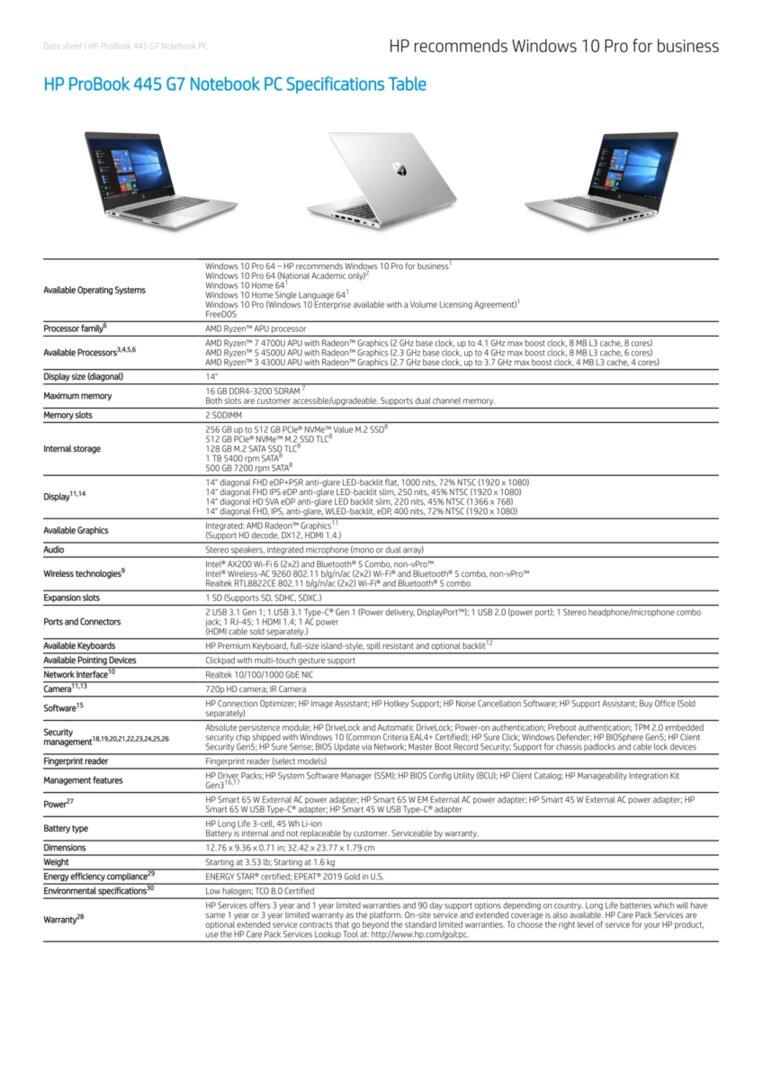 HP ProBook 445 G7 Spezifikationen