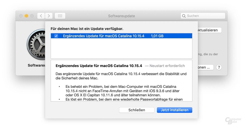 Das ergänzende Update für macOS Catalina 10.15.4 sollte mit Bedacht installiert werden