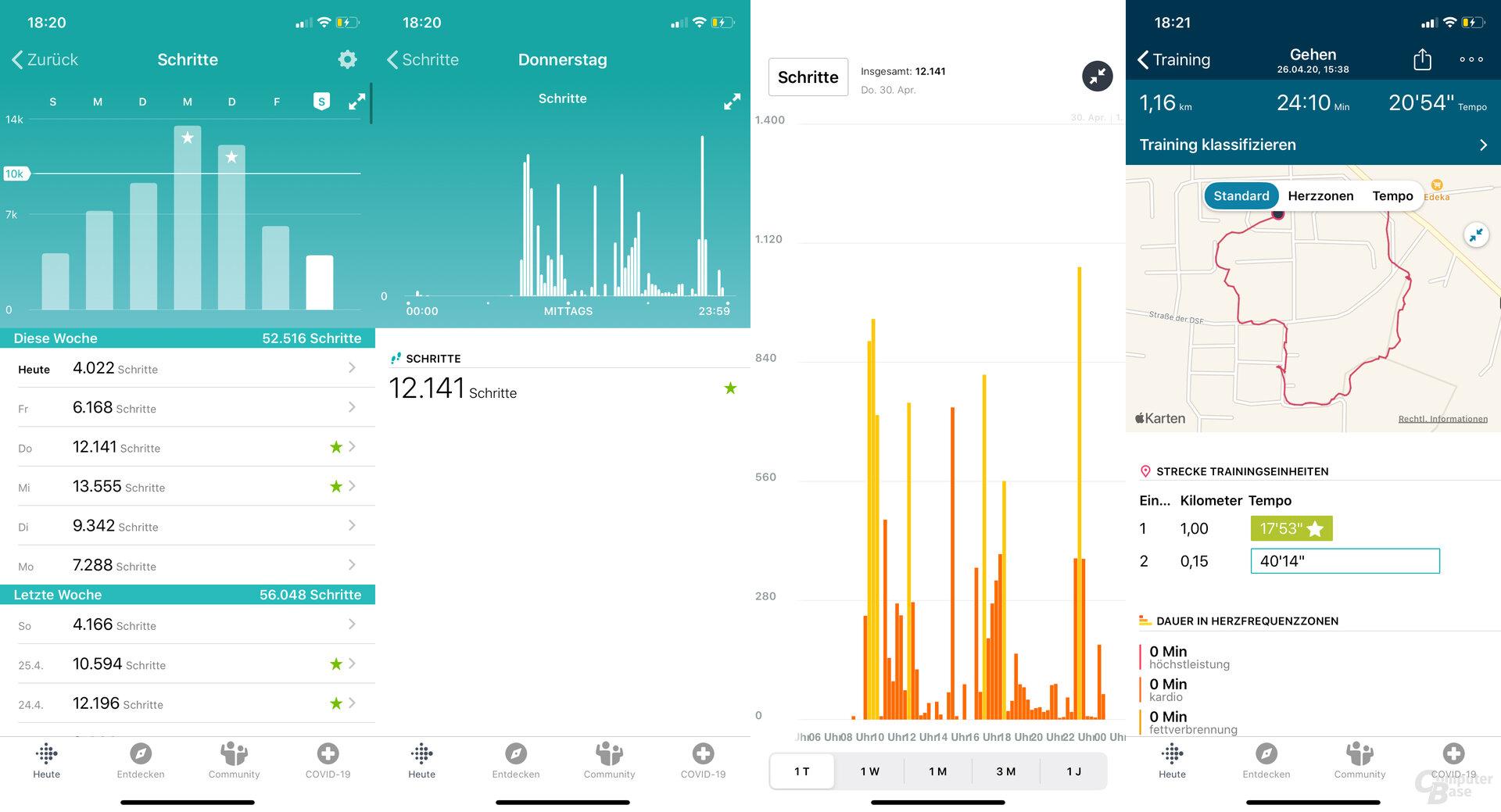 Fitbit Charge 4 im Test: Schrittübersicht