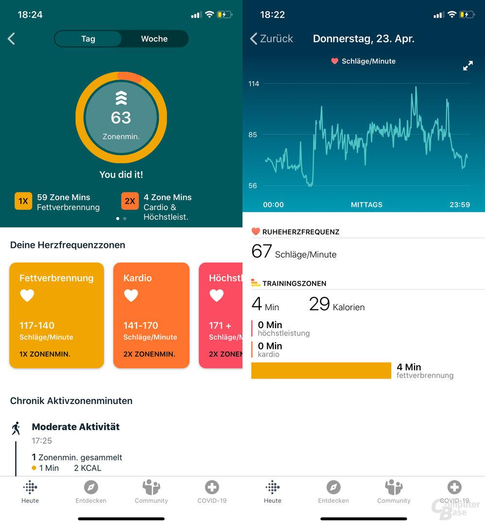 Fitbit Charge 4 im Test: Aktivminuten und Herzfrequenz