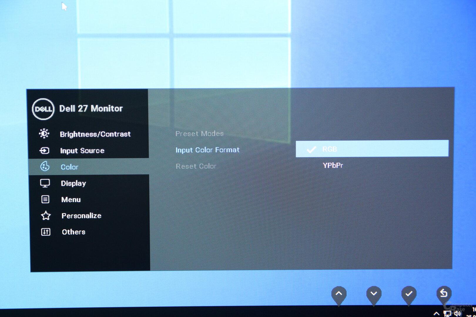OSD des Dell P2720DC