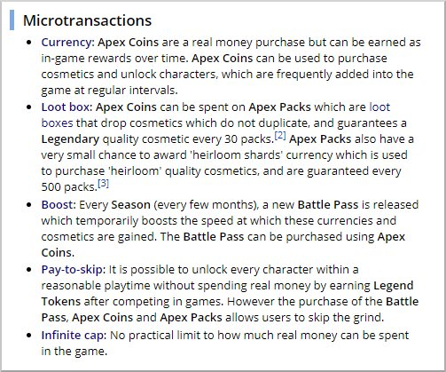 Mikrotransaktionen werden, hier am Beispiel von Apex Legends, genau beschrieben