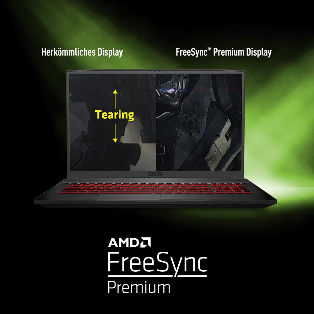 MSI Bravo 17 – 120-Hz-Display mit AMD-FreeSync-Technik