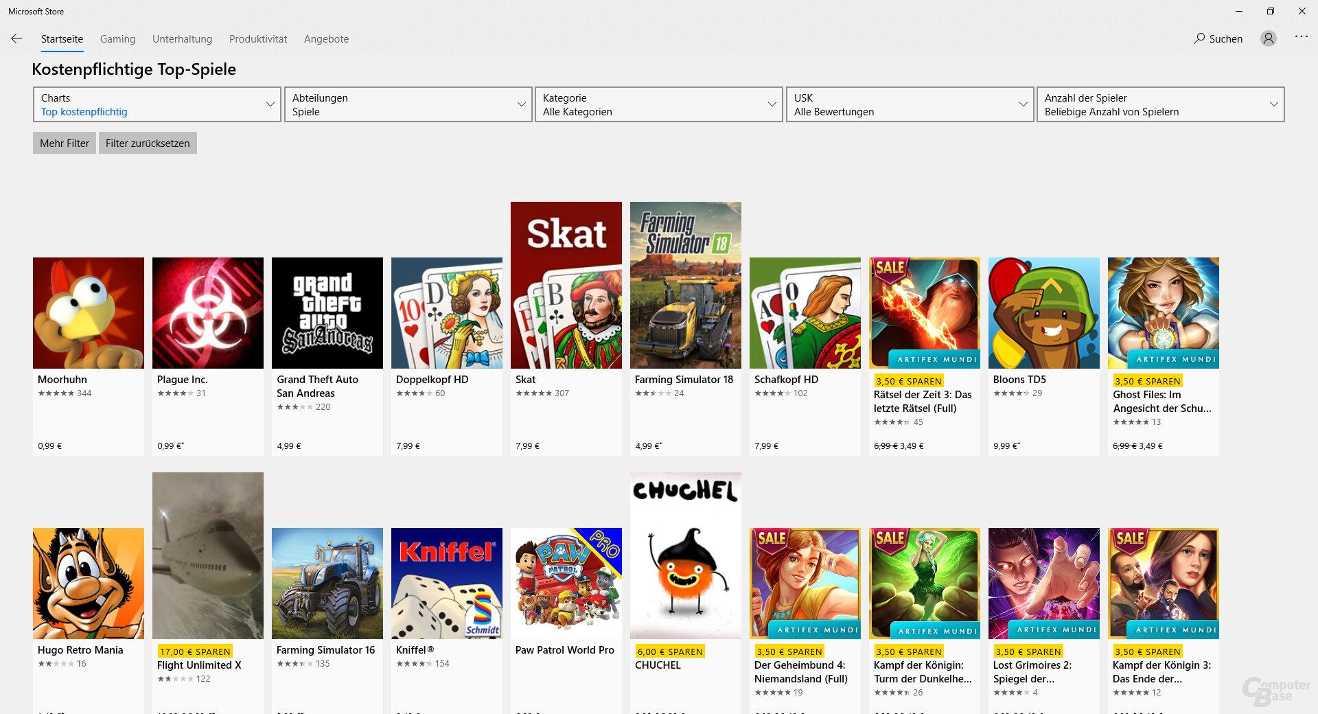Top-Spiele im Microsoft Store für Arm