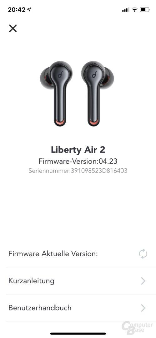 Soundcore-App mit den Anker Soundcore Liberty Air 2