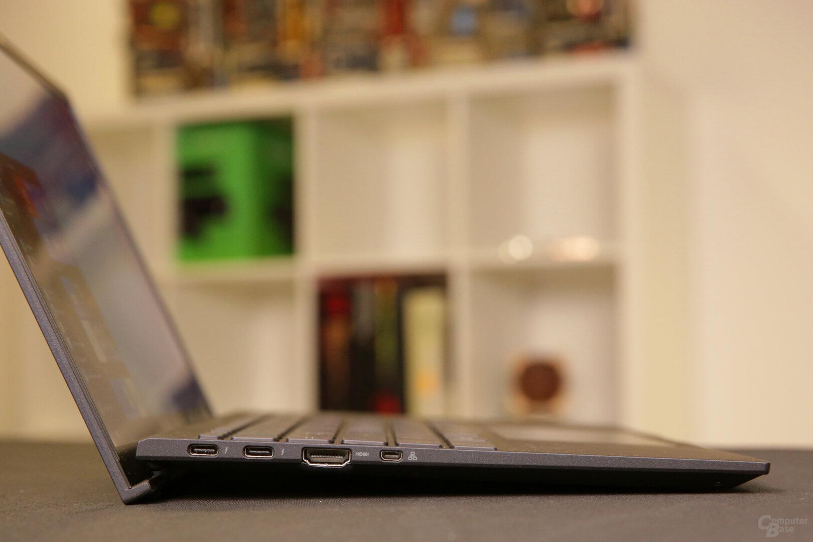 Zweimal Thunderbolt 3 (auch zum Laden), HDMI und Micro-HDMI