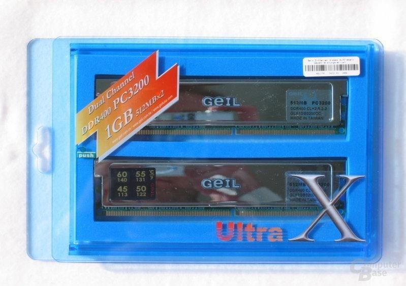 GeIL Ultra-X-Serie - hier DDR400 aus unserem großen DDR400-Round-Up