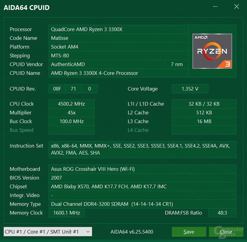 AMD Ryzen 3 3300X bei 4,5 GHz