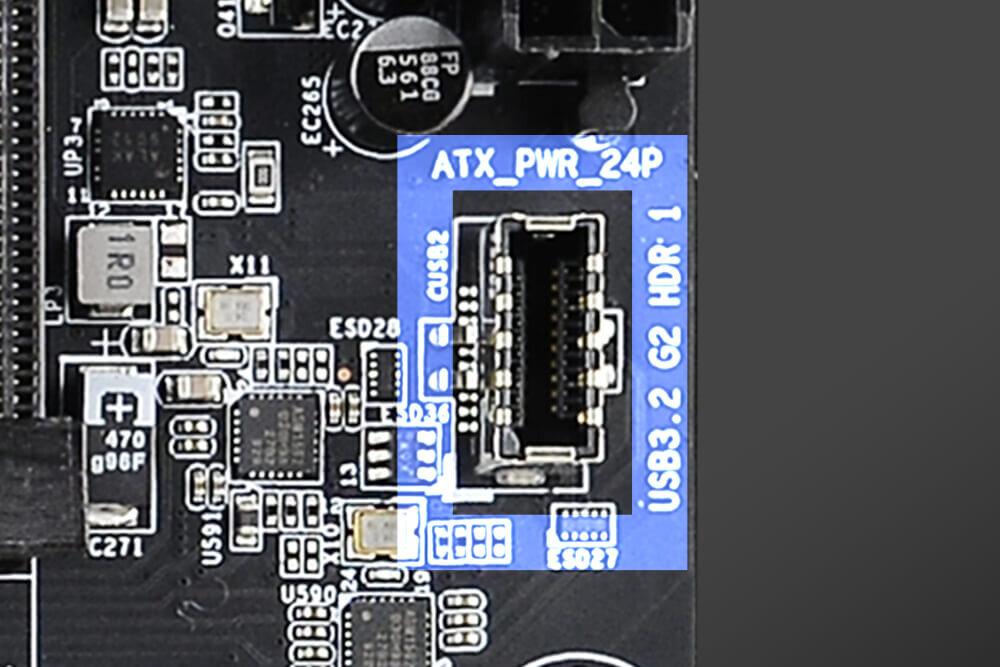 EVGA Z490-Mainboards – der USB-Anschluss (Typ C) für das Frontpanel