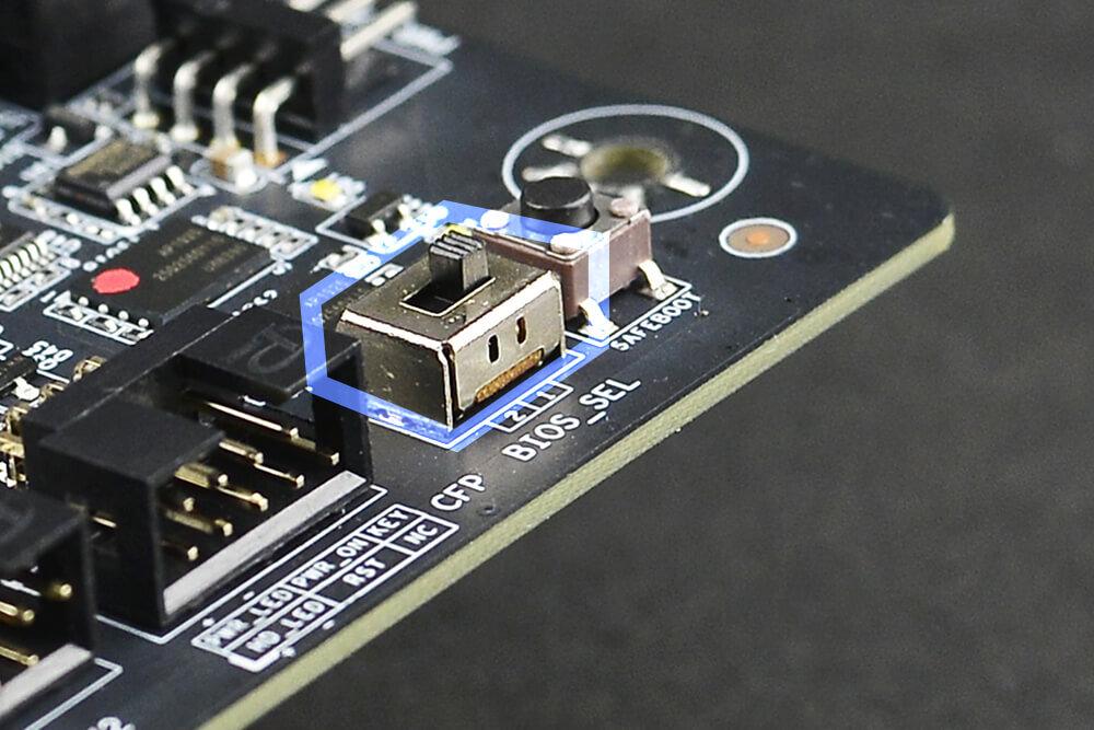 EVGA Z490-Mainboards – der mechanische Umschalter für das BIOS