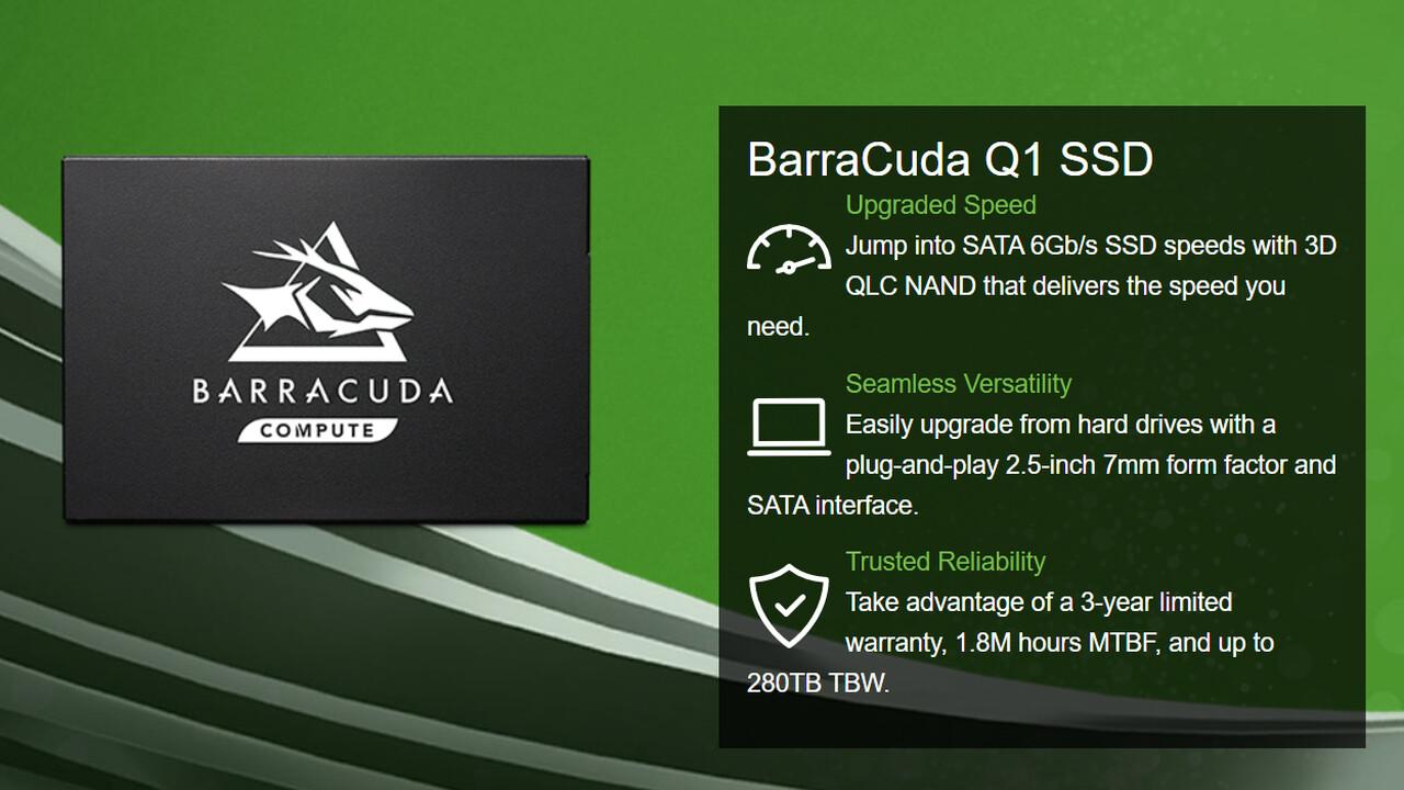BarraCuda Q1 SSD: Seagate setzt erstmals auf QLC-3D-NAND