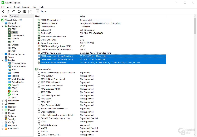 Intel Core i9-9980HK mit Turbo-Stufen und TDP-Konfiguration