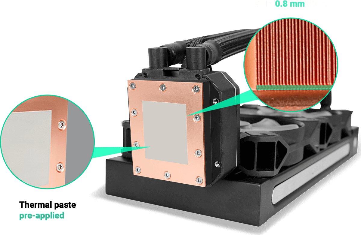Antec Neptune 240 ARGB – der Kühlblock mit ab Werk aufgetragener Wärmeleitpaste