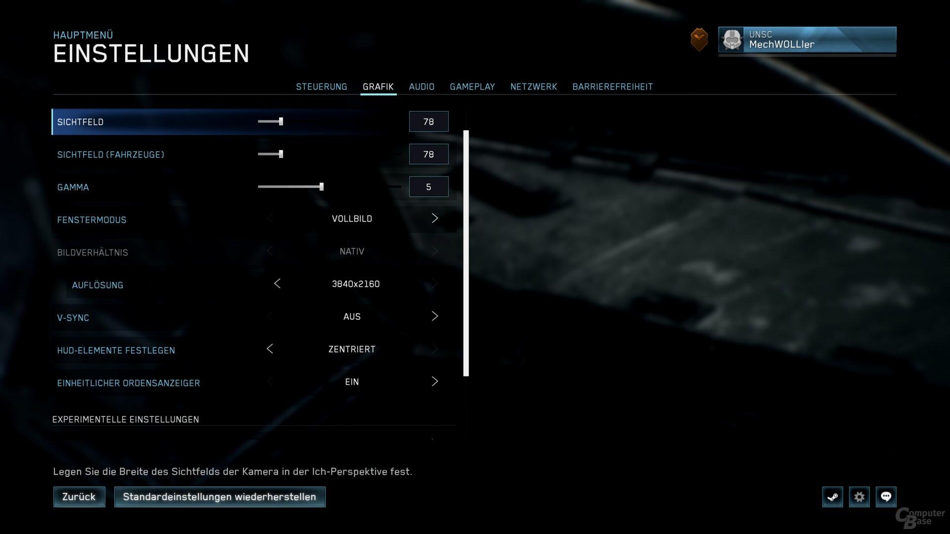 Das Grafikmenü von Halo 2: Anniversary