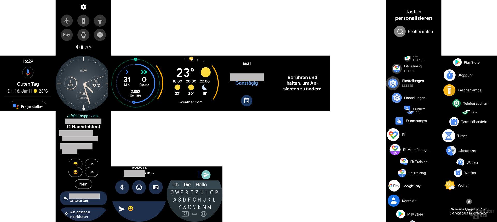 Motorola Moto 360 im Test: Menüführung im Überblick