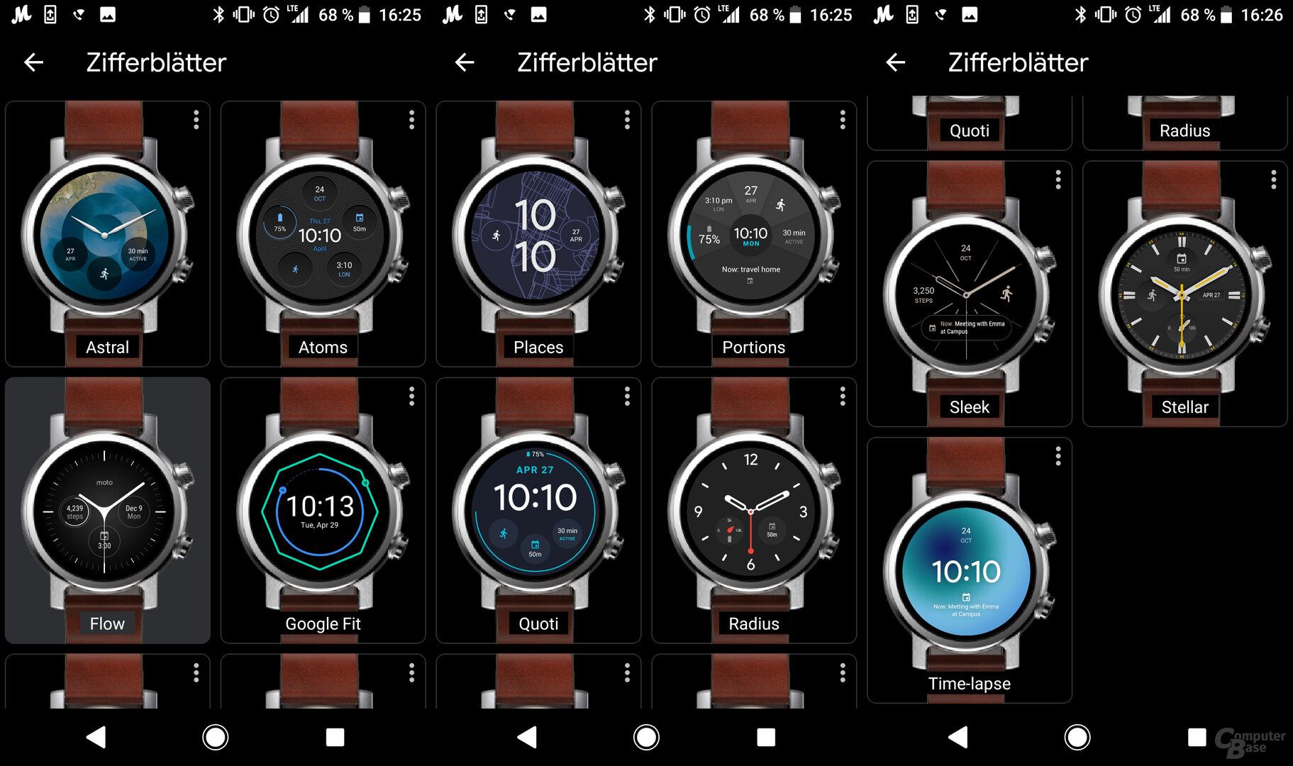 Motorola Moto 360 im Test: Auswahl Zifferblatt