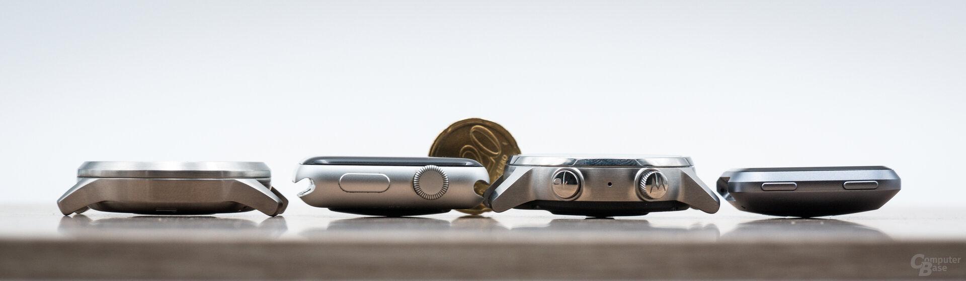 Motorola Moto 360 im Test: Größenvergleich Garmin Vívomove HR, Apple Watch 3, Moto 360, Fitbit Versa