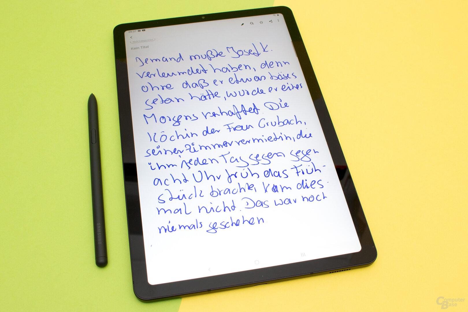 Das Galaxy Tab S6 Lite verfügt über eine gute Stifteingabe