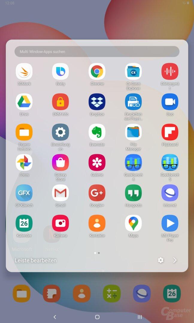 Auswahl der Apps für den Splitscreen-Modus