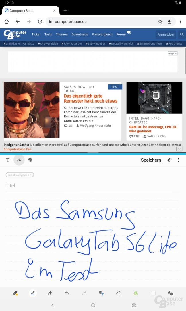 Der Splitscreen-Modus beim Galaxy Tab S6 Lite
