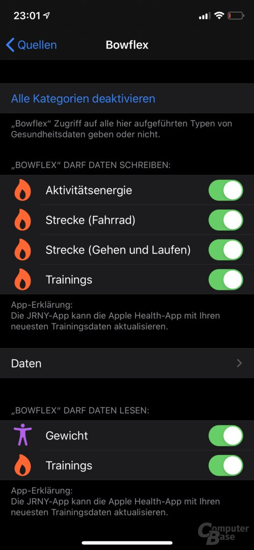Bowflex Max Trainer M8 – Apple-Health-Integration