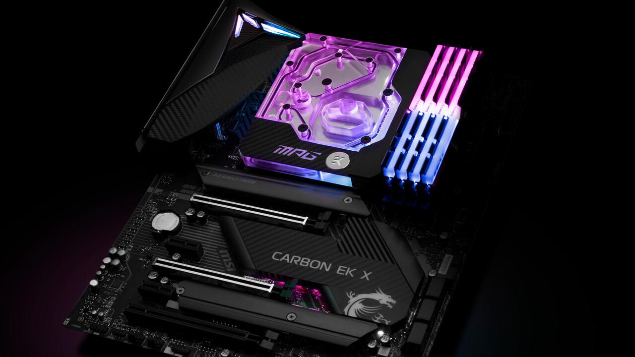 Z490 Carbon EK X: MSI kühlt CPU und VRM für 450 Euro mit Wasser