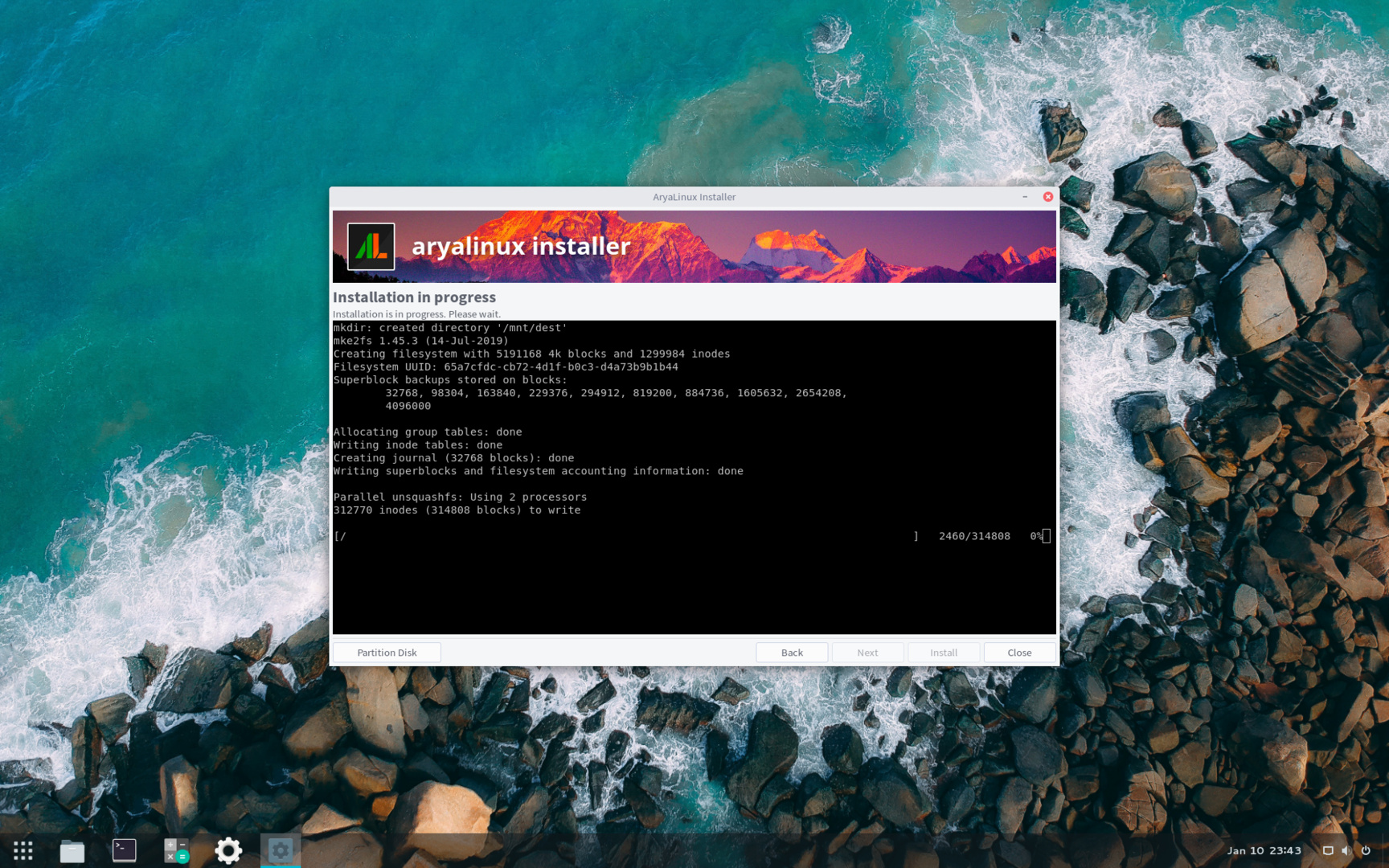 Installationsprozess von AryaLinux