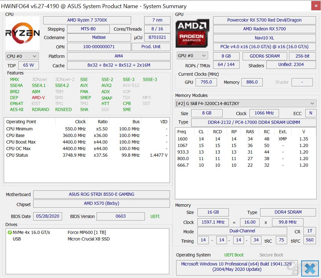 Systeminformationen des B550-PCs