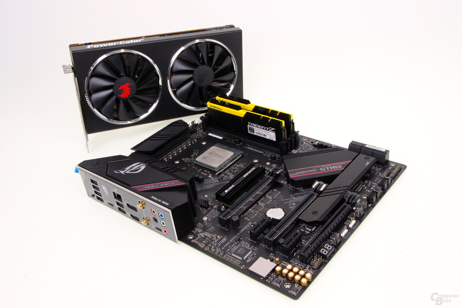 Asus ROG Strix B550-E Gaming, AMD Ryzen 7 3700X, 16 GByte G.Skill DDR4-3200, PowerColor Radeon RX 5700, Corsair MP600 PCIe-4.0-SSD
