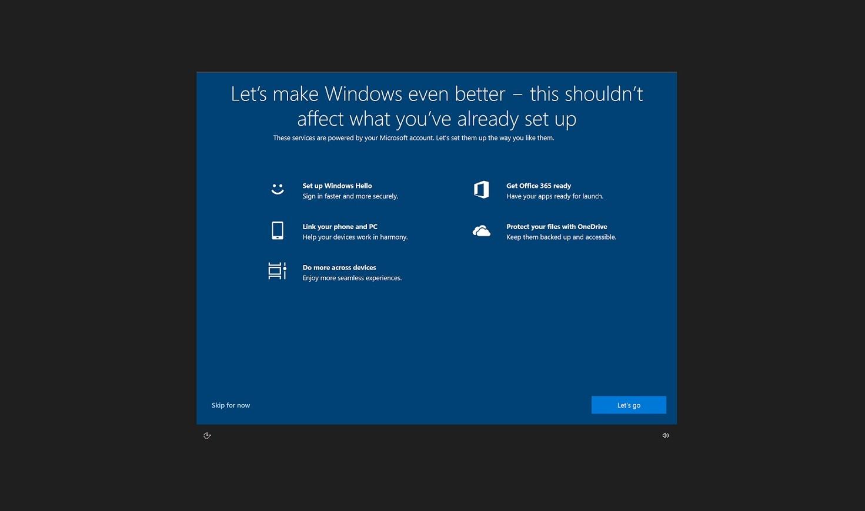 Pop-up-Fenster suggeriert die Installation eines Feature-Updates