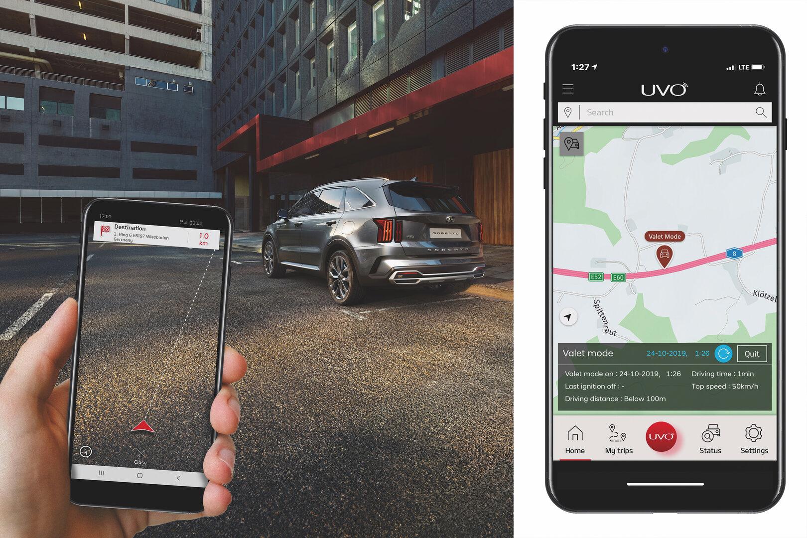 Fortführung der Navigation in der UVO Connect App