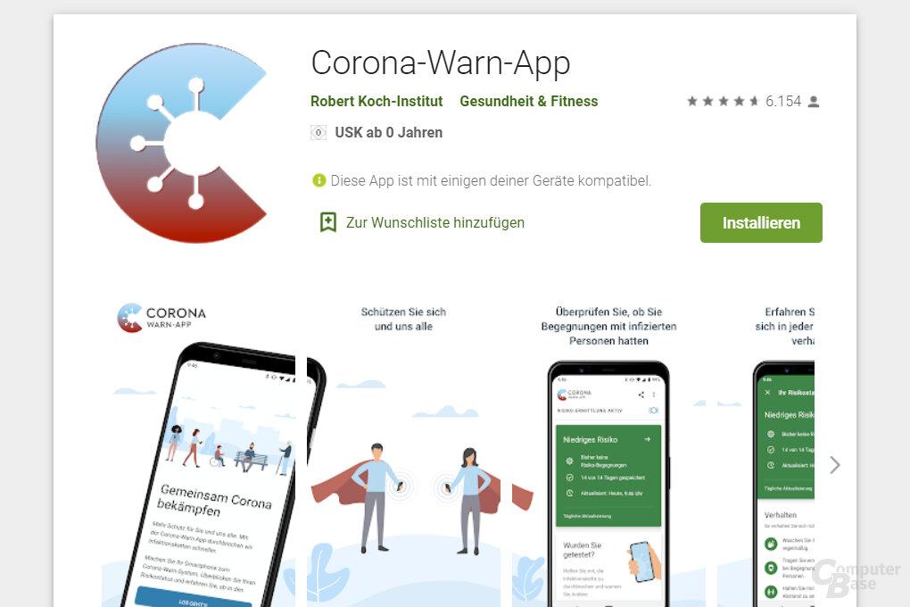 Corona-Warn-App im Google Play Store