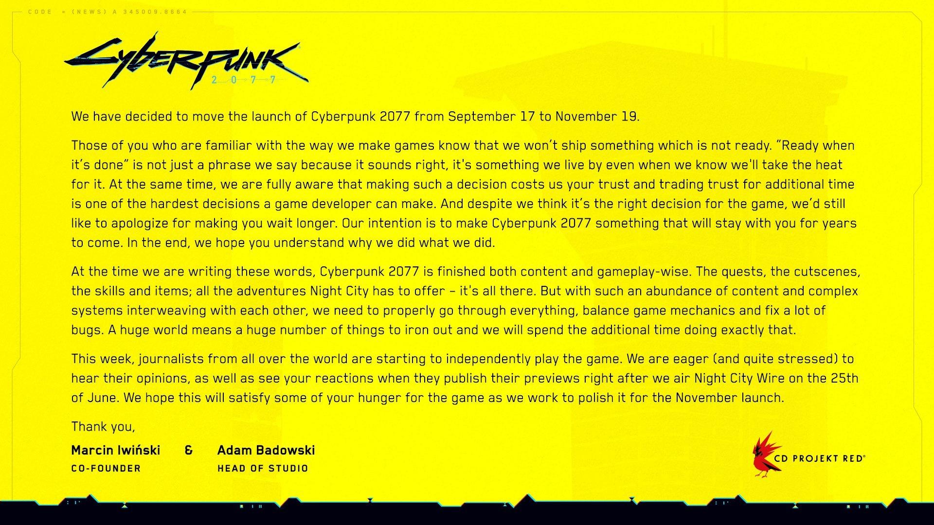 CD Projekt Red muss Cyberpunk 2077 erneut verschieben