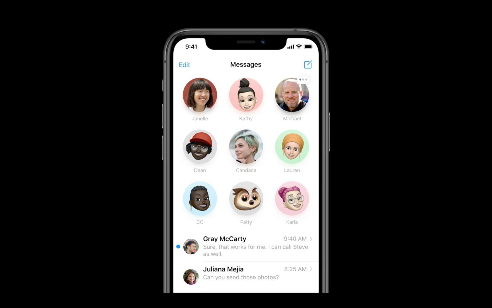 iOS iMessage Conversations mit angepinnten Chats