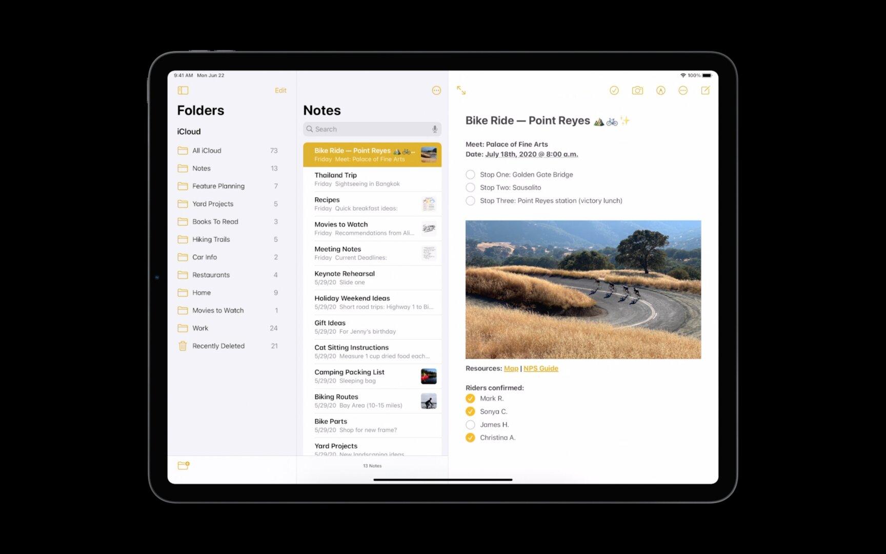 Die Sidebar gibt es auch in anderen Apps wie Notes
