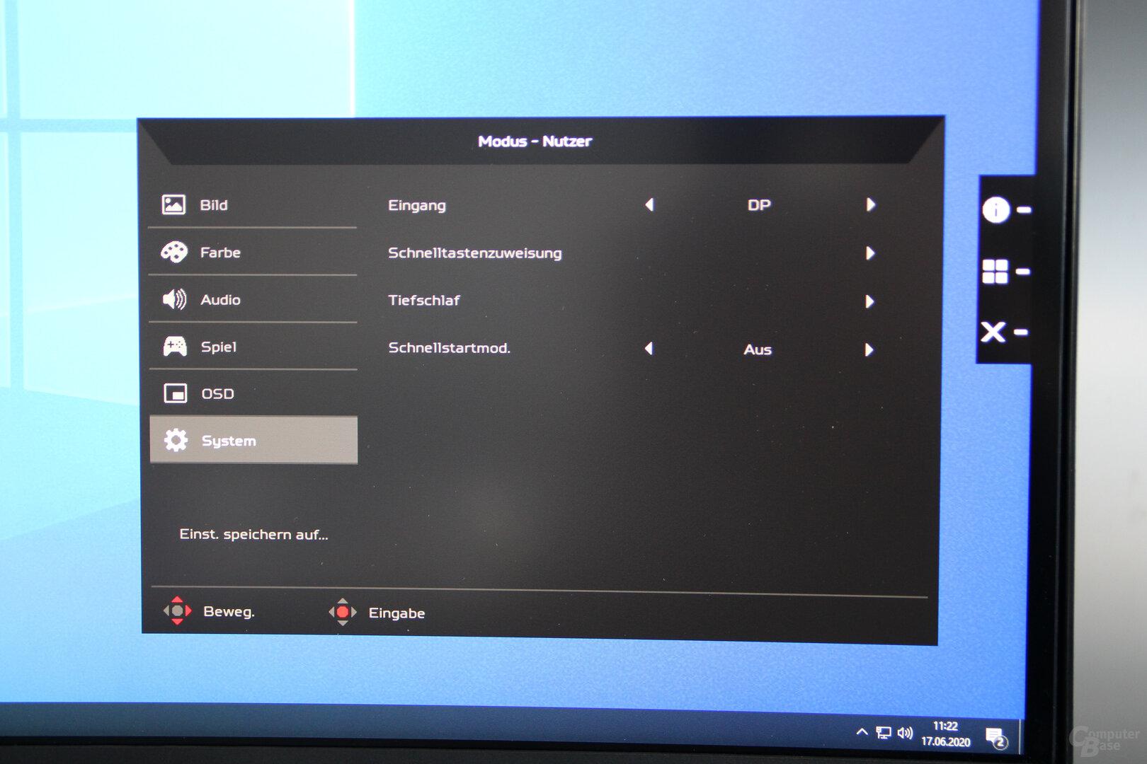 OSD des Acer Predator X38
