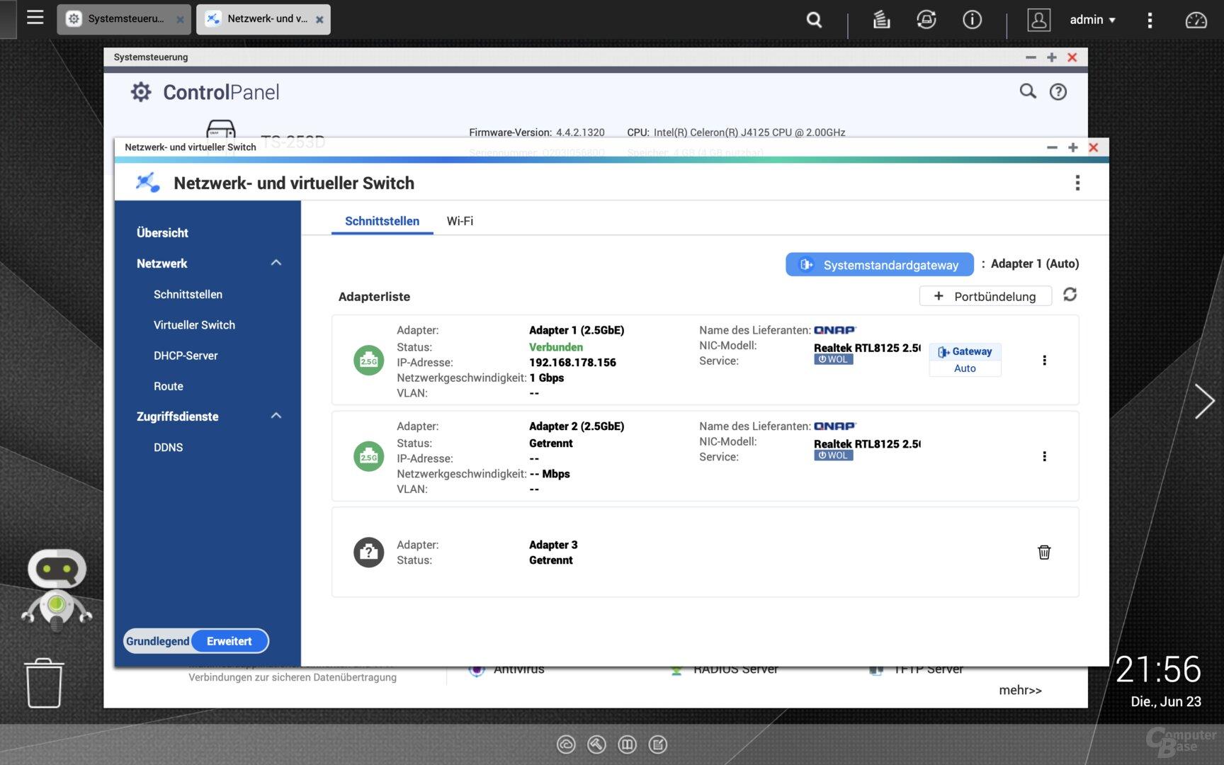 QNAP QTS 4.4.2 auf der TZS-253D