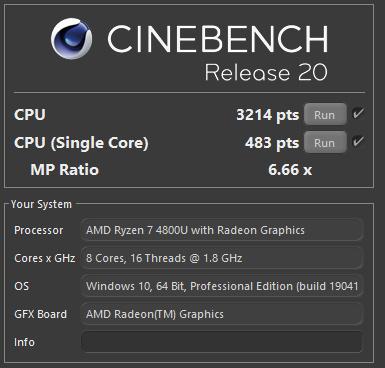 Cinebench R20 mit einer TDP von 20 Watt